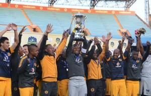 Kaizer chiefs celebrating the Gauteng Football Cup on Sunday at Loftus Stadium. Picture by Lefy Shivambu