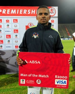 Kermit Erasmus receiving the man of the match award. Picture by Supersport.com