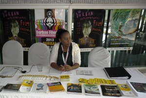 one of the hostess Nombulelo waiting to assist people at the information desk. Picture by: Winston Sibanda