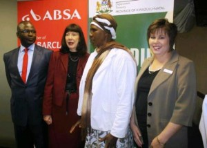 Mayor Chris Ndlela, MEC Ina Cronje, Miss Stephine Van Rensburg with one of the guests at the Financial Education Breakfast. Picture by :Zamalanda Mahlaba