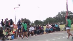 Mbali Phili of KwaMashu Netball team scores against goal keeper Sifisokuhle. Picture by Nhlahla Ndlovu