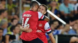Passions are high as Arsenal celebrates a victory over Fenerbahce. Picture by Arsenal.com