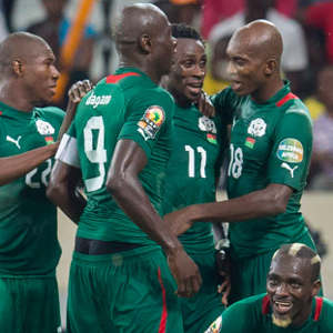 Burkina Faso celebrates a goal. picture by: supersport website.