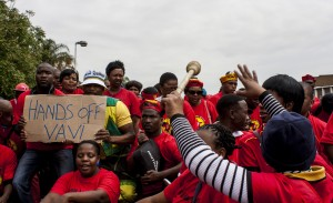 Strikers ask for people to work together to help Zwelenzima Vavi. Picture by: Rumana Akoob