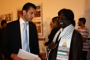 Logie Naidoo and Tamer Almassri of the Palestinian Embasssy chat after the formalities. Picture by: Rumana Akoob
