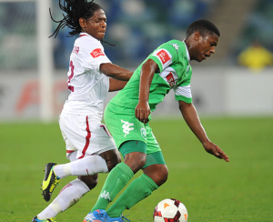 Lefa Tsutsulupa battling for the ball against Mohamed Awal at the Moses Mabhida Stadium. Picture by: Soccer Laduma