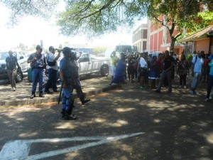 Heavily armed police on the guard as students protested outside the Pinetown Magistrate court. Pictures by:  Nonkululeko Hlophe