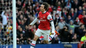 Thomas Rosiscky celebrates his goal against Sunderland on Saturday. Picture by Arsenal.com