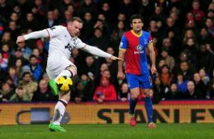Manchester striker Wayne Rooney bracing for a superb goal that he scored against Crystal Palace in their league encounter Saturday.  Picture: Manchester United Website