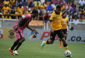 Kaizer Chiefs midfielder George Lebese tries to sneak past Black Leopards player in the Nedbank Cup match on Sunday.  Pictures by Soccer Laduma