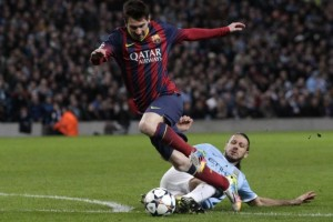Barcelona superstar Lionel Messi was a thorn to Manchester City players in the Uefa Champions League last 16 tie on Tuesday. Picture by Telegraph.com