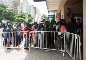 Contestants and their family gathered outside the Playhouse for the South African Idols audition. Pictures by. Laeeka Edries