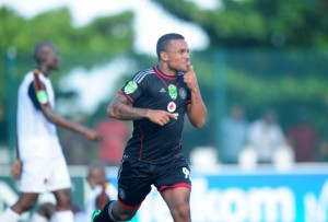 Kermit Erasmus celebrates after scoring against Thanda Royal Zulu in the Nedbank Cup over the weekend. Picture by Soccer Laduma