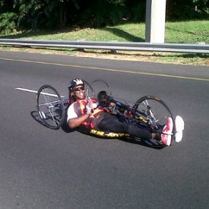 Hand cyclist, Cedric Mkhize. Picture by: Cedric Mkhize.