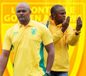 Shaun Bartlett and one of his caretaker coaches Bheka Phakathi. Picture by: www.goldenarrowsfc.com