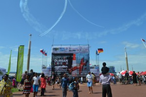 People gathered to watch the planes put on a remarkable display. Picture by: Pamella Magwaza