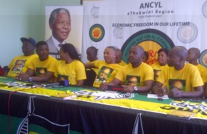 Andile Jali , lvovo Derango and other public personalities are unvieled as new ANCYL members in eThekwini Region. Picture by: Samkele Maseko