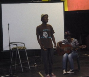 Page and Mashenge performing their poetry piece at the Bet Center.Picture by: Mhlengi Mafu