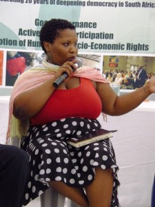 Kanyisa Booi, explains the responsibility of people in sustaining democracy. Picture by: Dale Munatswa