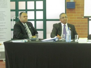 Senior Director of Corporate Affairs at DUT Alan Khan and International Narcotics Control Board (INCB) Vice President Dr Naidoo at the launch of the 45th Annual Report in eThekwini. Pictures by: Zinlhe Mngadi