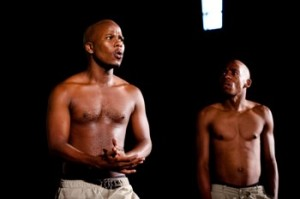 Drama students Xulu and Mabaso performing at the DUT Human Rights Theatre Week Pictures from: www.dut.ac.za