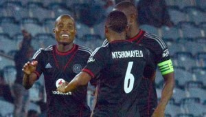 Newly signed Orlando Pirates striker,Lehlohonolo Majoro,middle, celebrates club's win with teammates on the stands. Pictures form: Orlandopirates.com
