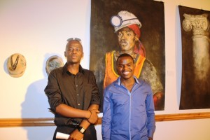 Mhlonishwa Chiliza and Bongani Khanyile standing in front of their art work Pictures by: Nompilo Kunene