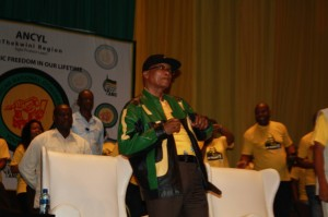 ANC President Jacob Zuma gets down with new culture of swag within the ANCYL. Pictures by: Neo Goba