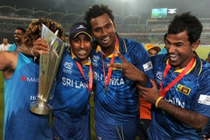 Nuwan Kulasekera, Lasitha Malinga, Mahela Hajawardena and Angelo Mathews of Sri Lanka celebrate after winning the ICC World Twenty20. Pictures from: icc-cricket.com
