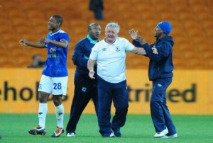 Mpumalanga Black Aces coach Clive Barker celebrates a goal that secured Aces a win against Kaizer Chiefs. Pictures from:  Soccer Laduma