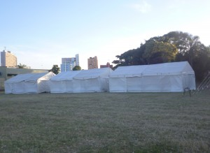 Tents erected for graduation at Fred Crooks Sports Centre stadium, interrupting match fixtures. Pictures by: Kwazi Dlamini