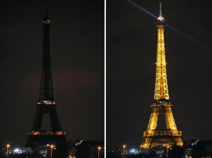 The eiffel tower during and after earth hour in the previous years. Pictures from: Idsearthstewardship.org