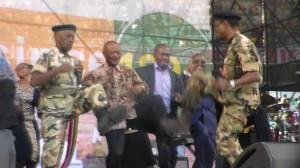 Premier Senzo Mchunu dancing with eThekwini Mayor James Nxumalo. Pictures by: Khethukuthula Lembethe