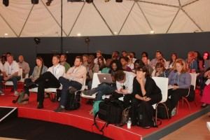 Indaba delegates gathered at the TechZone for the various Tech Talks. Pctures by: Reg Caldecott