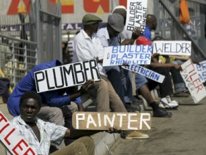 Workers and south african citizens fighting for employment, higher employment standards and equality. Pictures from: www.spyghana.com