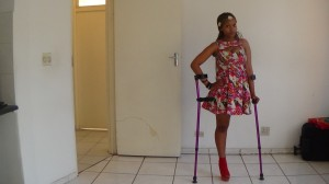 Bongi rocking her high heels. She says she is happy regardless of being physically challenged. Picture by: