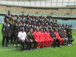 The playing squad and Technical Team of the Royal Eagles at pitch side ,Moses Mabhida Pictures by: Ndebele