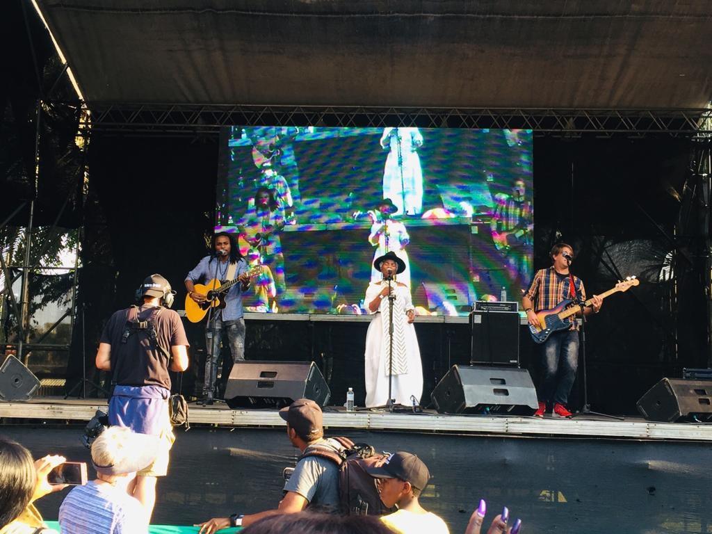 Freshlyground performing on stage