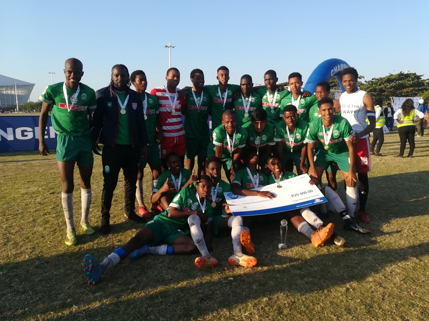 AmaZul U/19 celebrating their win at Moses Mabhida Sports Complex, yesterday.