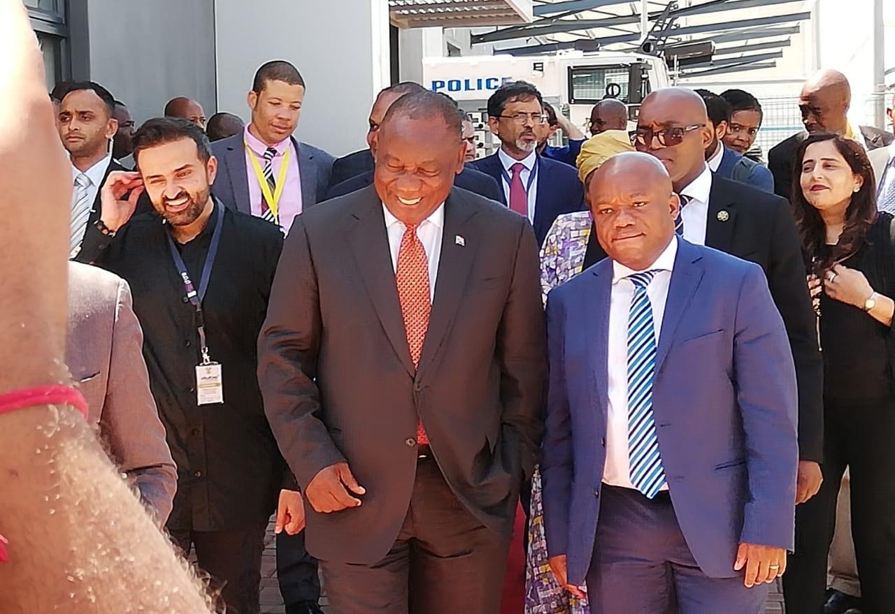 Ashish Thakkar, (founder and CEO of Mara Group), President Cyril Ramaphosa and KZN Premier, Sihle Zikalala
