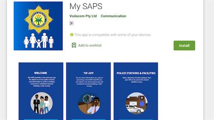 Screenshot of the My SAPS App on Google Play Store